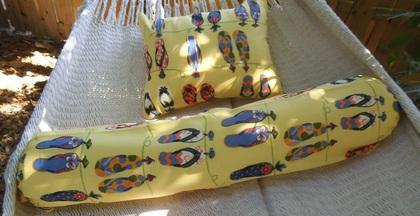 Tropical Flip Flop  Pillow/ Bolster Set