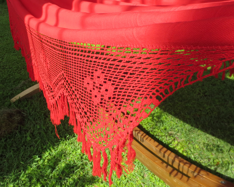Red Rio Bar Hammock Fringe Detail