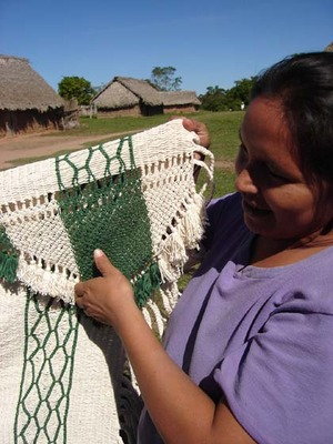 Bolivian knotted hammock--verde